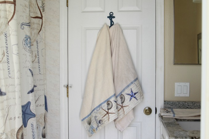 These towels were perfect for a coastal themed bathroom makeover