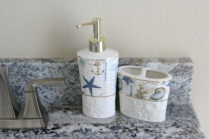 For the sink, a soap dispenser and toothpaste holder will come in handy