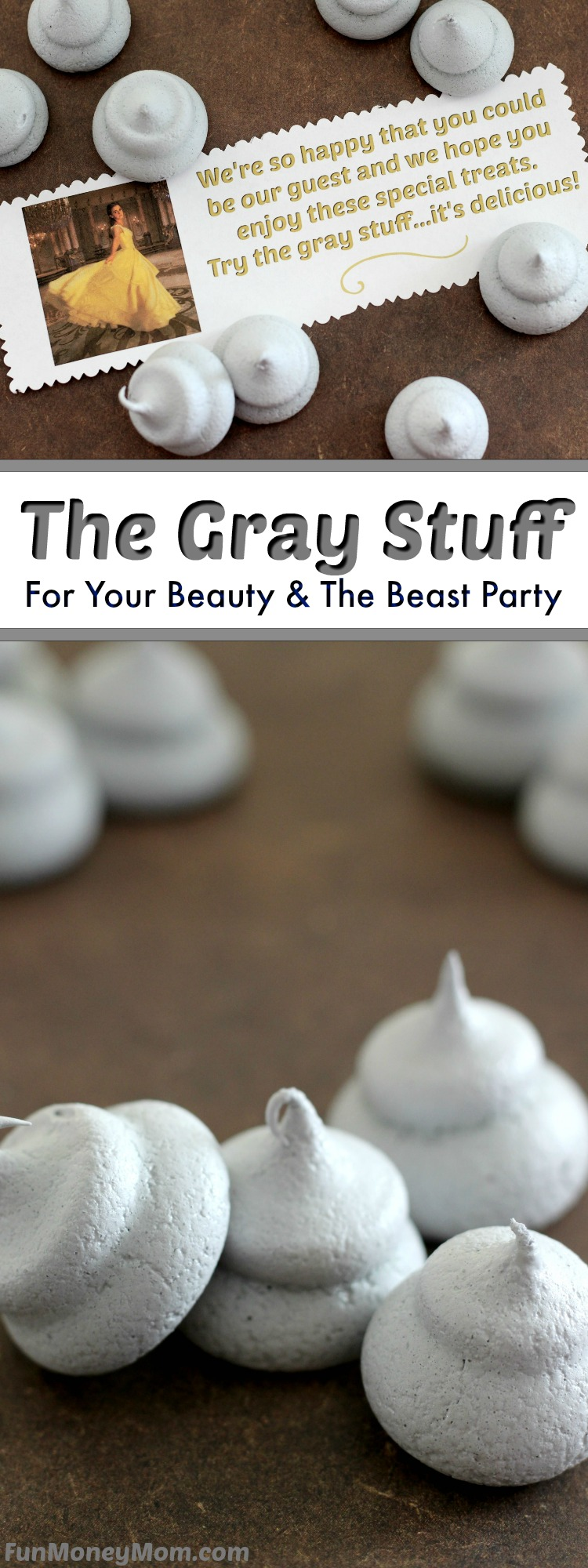 The Gray Stuff - If you're having a Beauty And The Beast Party, you have to have the gray stuff! These melt in your mouth meringue cookies are the perfect sweet treat for a birthday party!