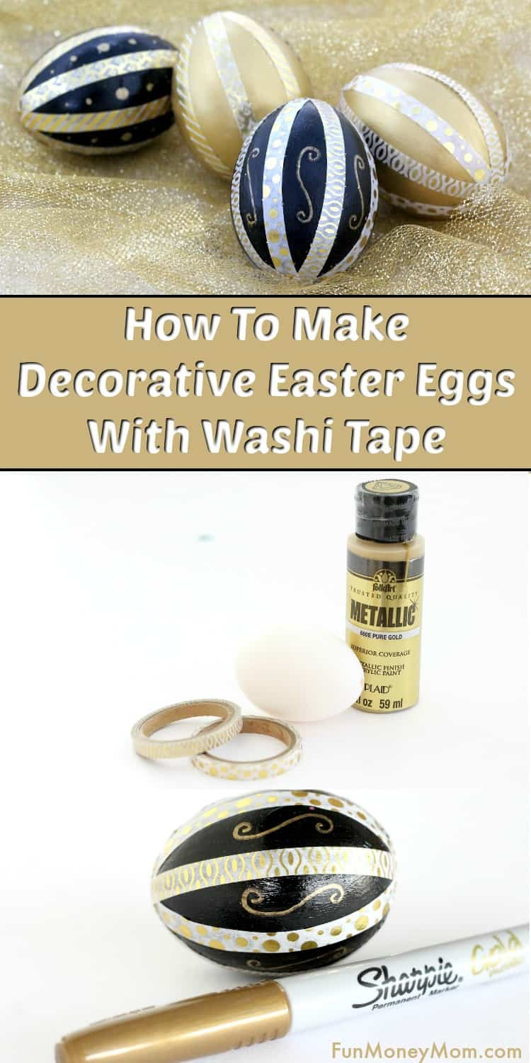 Washi Tape Easter Eggs - These pretty Easter eggs are make beautiful Easter decor. It goes to show that decorating Easter eggs is an Easter craft that can be just as much fun for the adults as it is for the kids. #Eastereggs #Easterdecor #Eastereggdecorating