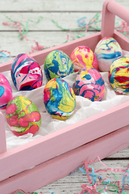 Marbling with nail polish makes the prettiest Easter eggs