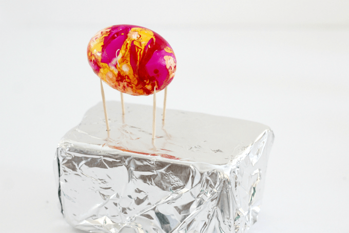 You can dry Easter eggs that are hard boiled by resting them on toothpicks