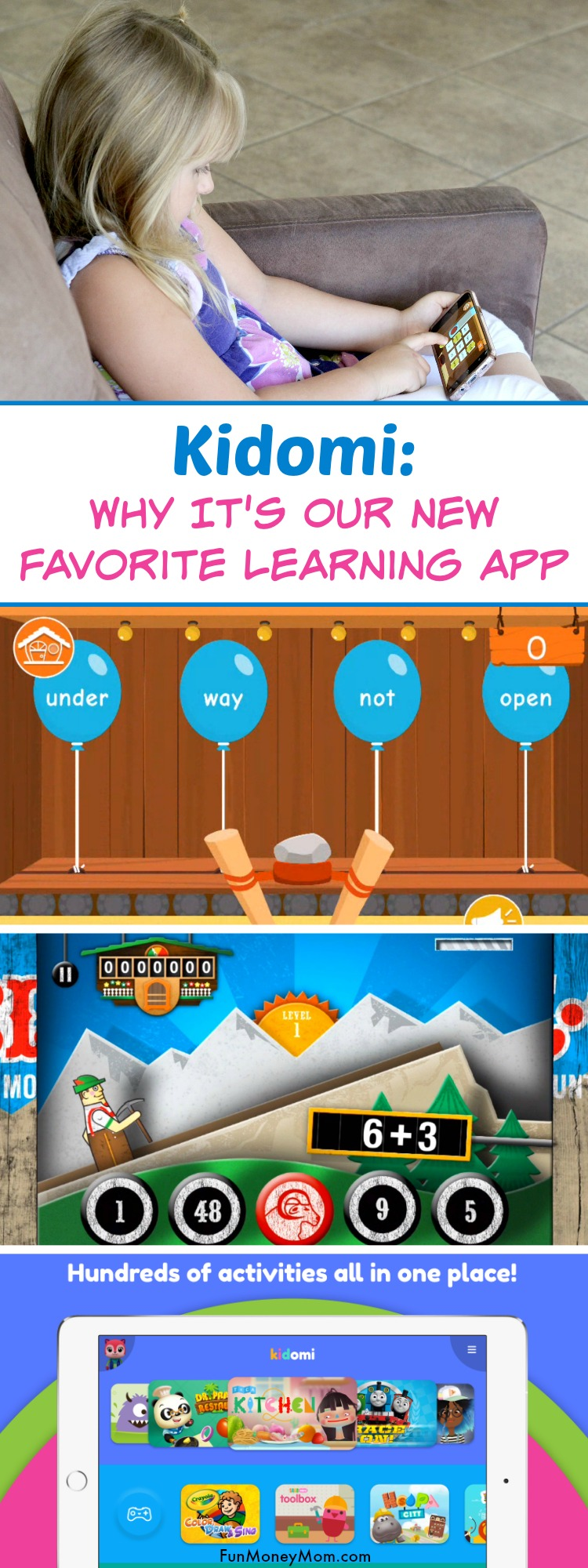 Kidomi Learning App - This educational app is a favorite for moms because it teaches important math and reading skills. Kids just love it for the fun games. #KidomiApp #ad