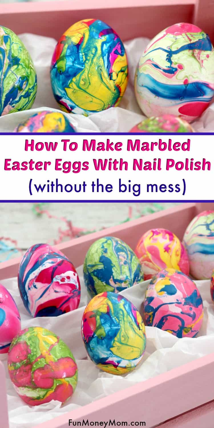 Marbled Easter Eggs With Nail Polish - Planning on decorating Easter eggs for the holiday? These Easter eggs were pretty but so messy that I just had to try something new. Believe it or not, you CAN make nail polish Easter eggs without the big mess. Find out my secret to the perfect Easter egg. #MarbledEasterEggs #EasterEggDecorating #EasterEggs #NailPolishEggs