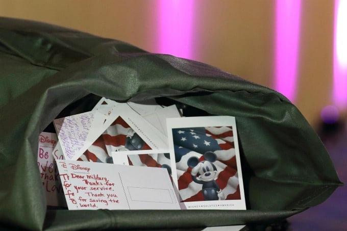 Disney gave everyone postcards so that we could send messages to our troops overseas.