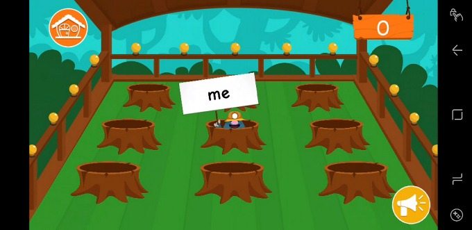 The Kidomi learning app teaches language arts with games like Whack-a-mole