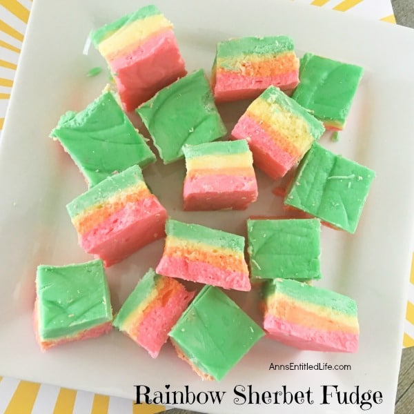 St. Patrick's Day Treat Ideas - Rainbow Sherbet Fudge