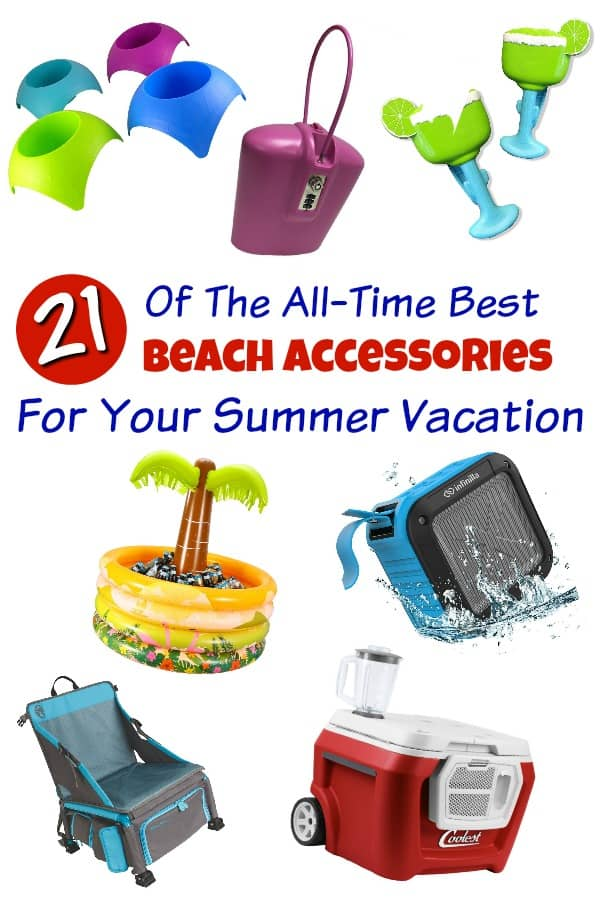 Beach Accessories - Planning a beach vacation? You'll want the coolest beach gear! From beach carts that carry everything to coolers with built in blenders, this list of awesome beach equipment has it all! #beachaccessories #beachgear #beachvacation