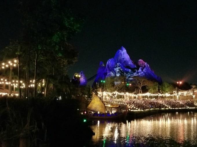 Animal Kingdom's Everest at night