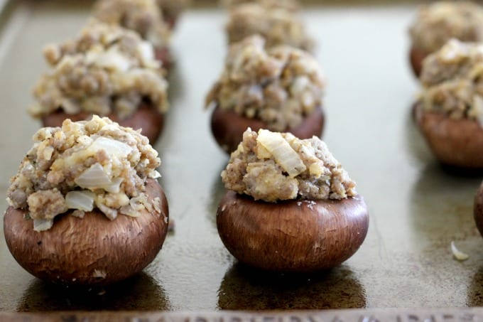 Start by baking these stuffed mushrooms without the cheese