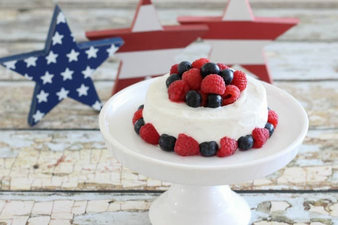 With all the colors of the flag, this berry cake is the perfect treat to serve at your Memorial Day or Fourth of July cookout.
