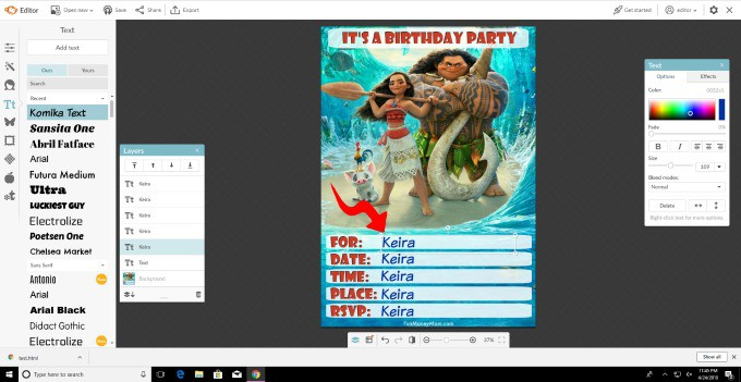 Type all the information directly on to the birthday invitation