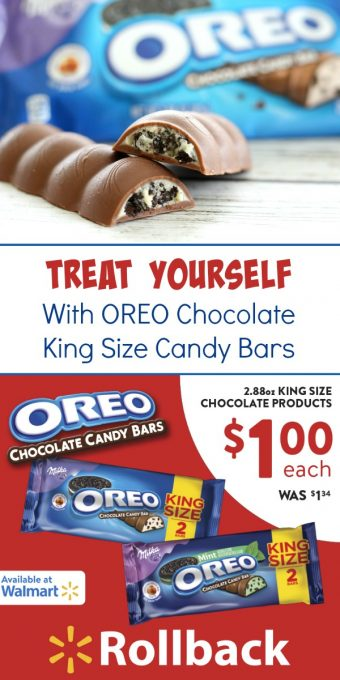 OREO Chocolate King Size Candy Bars - Treat yourself to OREO Chocolate King Size Candy Bars, on Rollback at Walmart, and enter to win a Walmart Gift Card up to $200! @OREO @Walmart #OREOChocolate #KingSizeRollBack #Walmart #IC #ad