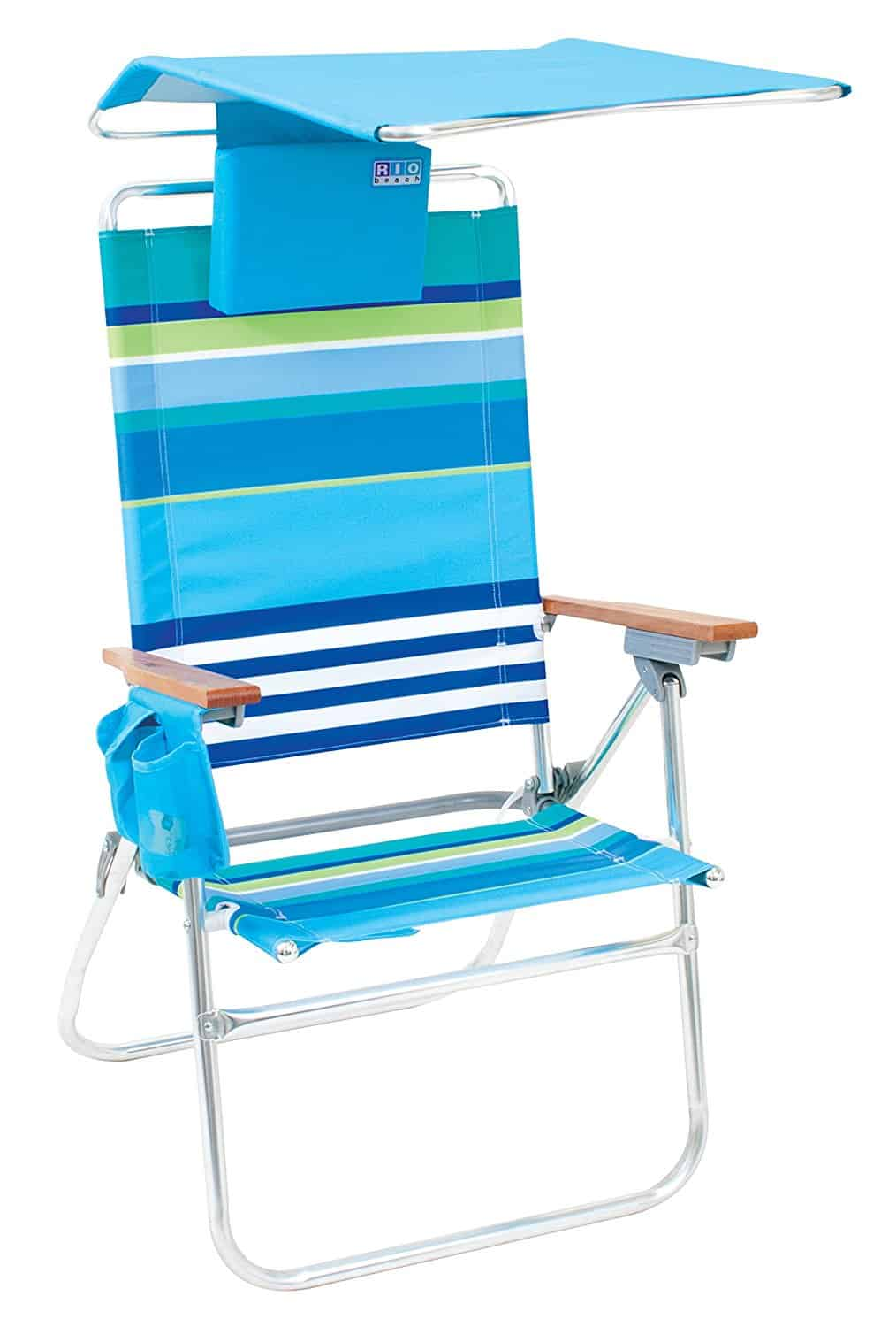 This beach chair helps keep the sun out of your eyes