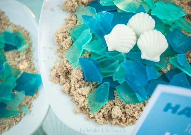 Sea candy glass for a Moana birthday party theme