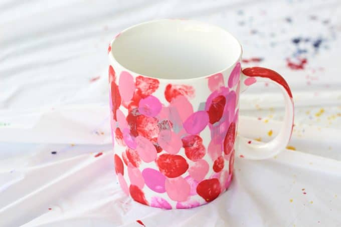 Be sure to cover the letters of the painted mug as much as possible
