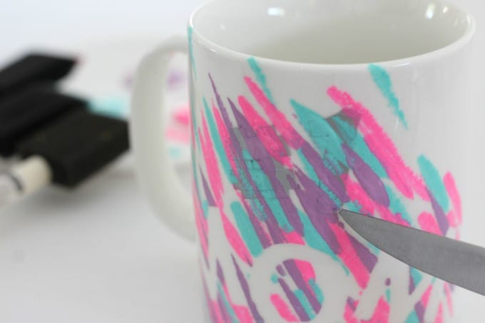 It's easiest if you peel the letters off your DIY mugs before the paint dries