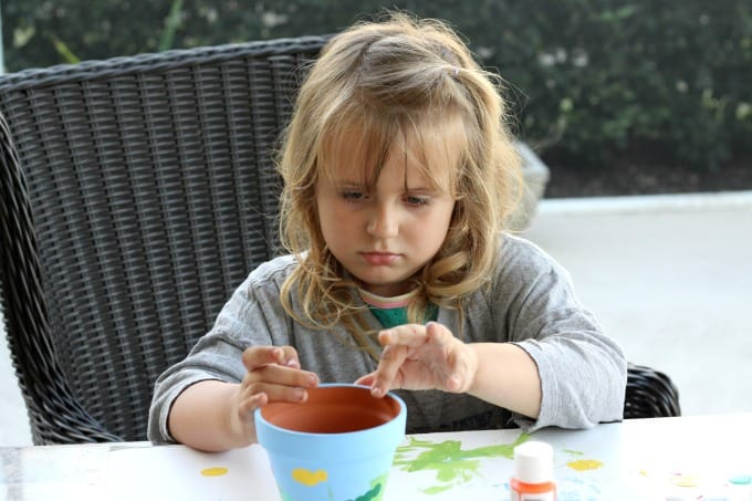 Keira was very focused on her flower pot painting