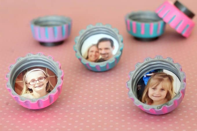 Bottle cap magnets make a great Mother's Day gift