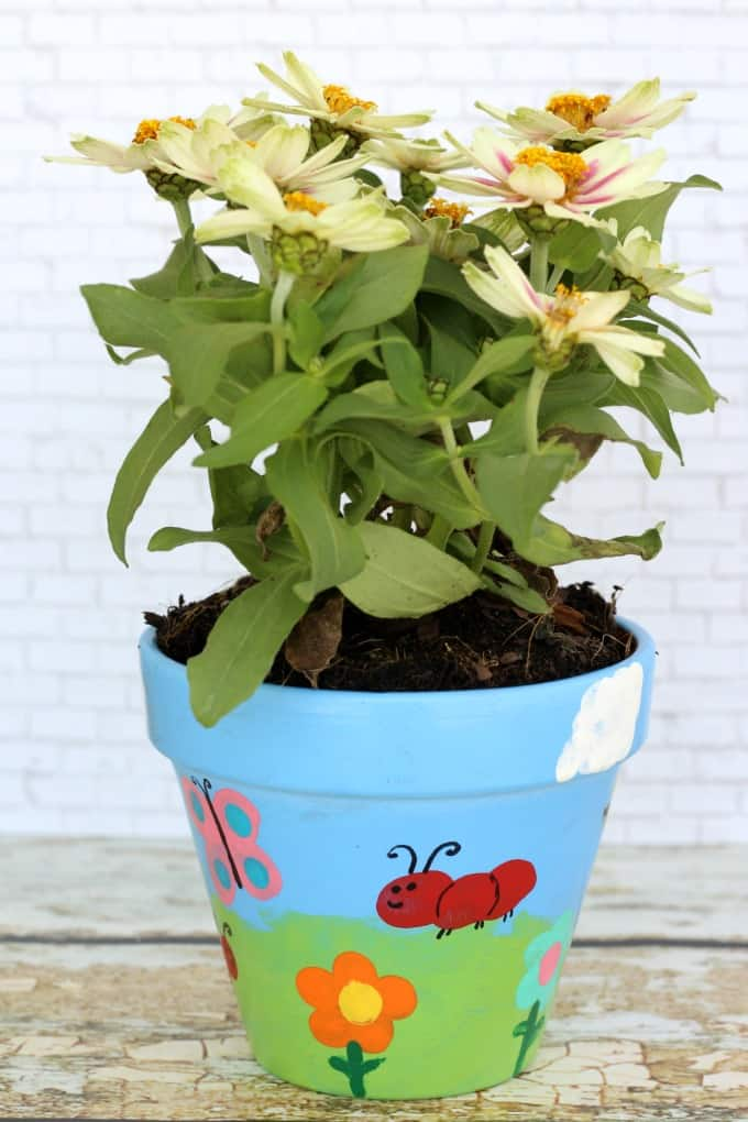 When you make painted flower pots, you'll want to add flowers