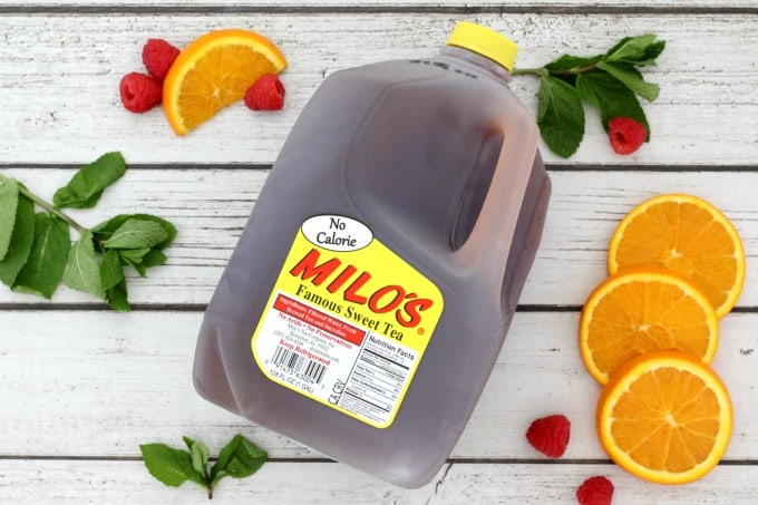 No calorie Milo's Tea works well for this Raspberry Orange Iced Tea Recipe