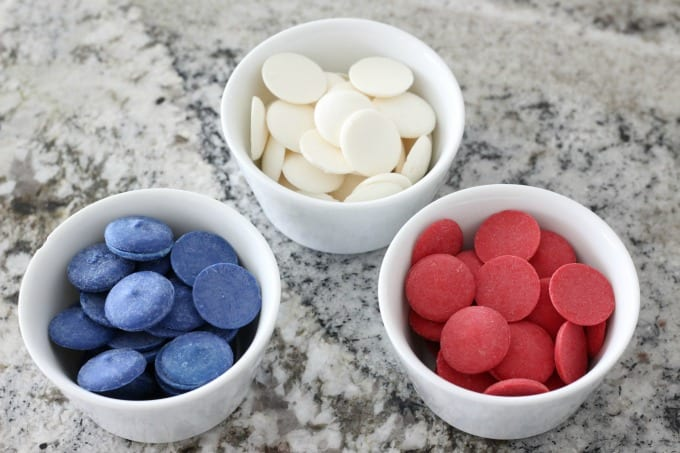 Red, white and blue candy melts add some color to your cheesecake bites