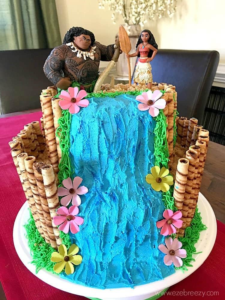 Waterfall cake for Moana birthday
