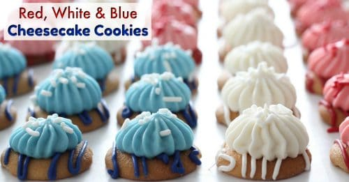 Red White and blue cheesecake cookies