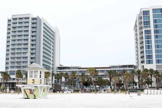 The Wyndham Grand Clearwater Beach is directly across from the beach