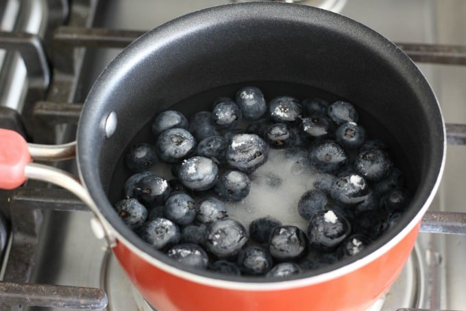 Combine fresh blueberries with water and sugar