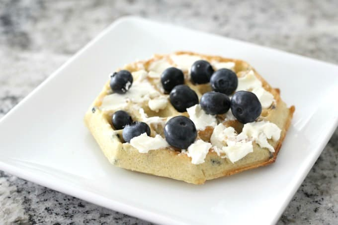 waffle with blueberries and cream cheese