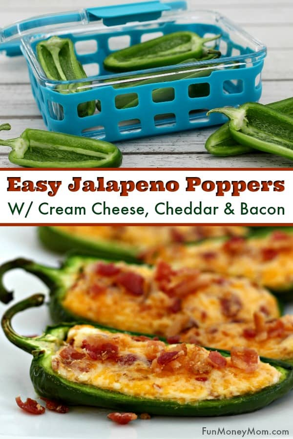 Baked Jalapeno Poppers - These jalapeno poppers with cream cheese, cheddar and bacon make the perfect party recipe. It's an easy recipe for parties, tailgating and more. Find out why this easy appetizer is my new favorite and my secret trick for storing them so that they're just as delish the next day too!
