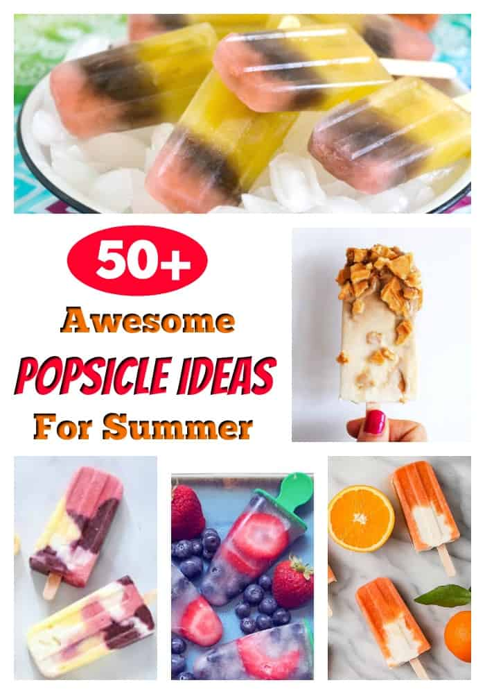 Popsicle Recipes - Looking for yummy popsicle recipes to help keep cool this summer? From healthy fruit popsicles to yogurt popsicles, you'll have 50+ homemade popsicles to choose from, making it the perfect summer snack! #popsicles #homemadepopsicles #popsiclerecipes #fruitpopsicles #yogurtpopsicles #summersnacks