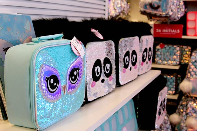 The girls backpacks at Justice feature matching accessories like lunch boxes and more.