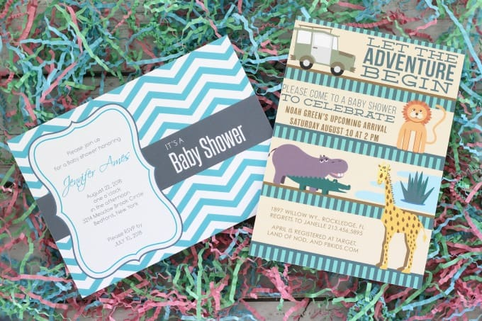 Basic Invite's customized baby shower invitations are also made on high quality paper