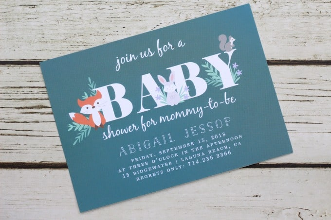 The baby forest animals make for cute custom baby shower invitations