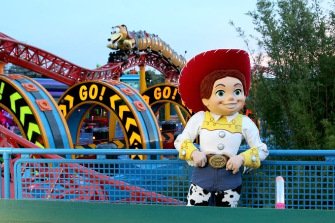 Jessie hanging out in front of the Slinky Dog Dash