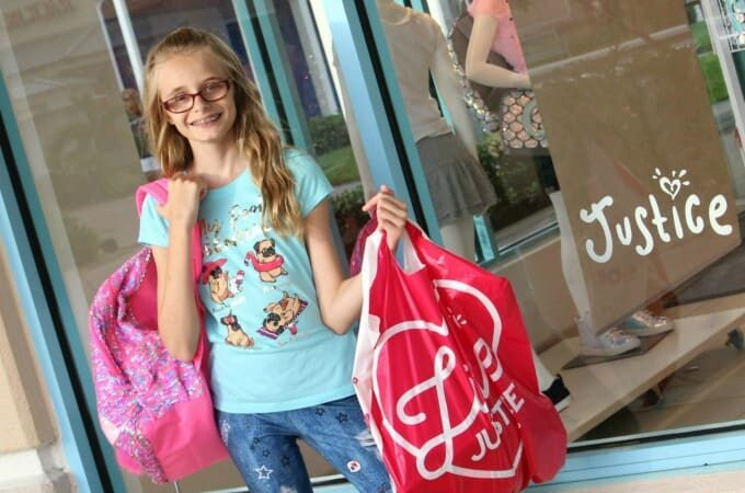 Back to school shopping for girls clothing at Justice