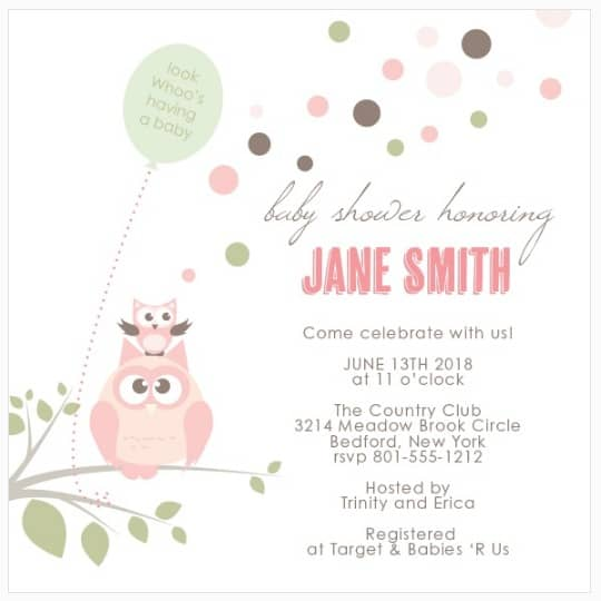 Custom baby shower invitation with pink owl