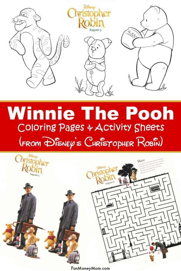 Winnie The Pooh Coloring Pages - Going to see Disney's Christopher Robin movie? Why not print these Winnie The Pooh activity sheets and coloring pages for when you get home! #ChristopherRobin #WinnieThePooh #ColoringPages