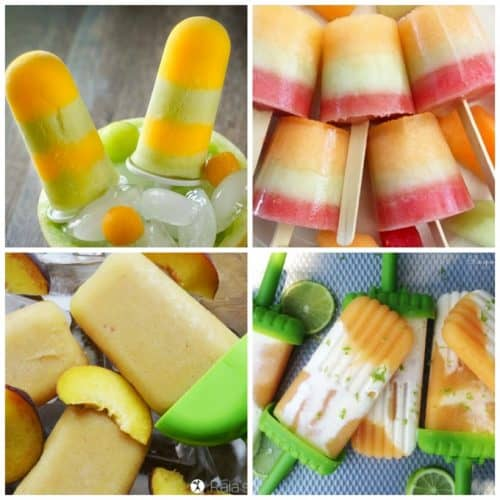 Homemade popsicles with melon and peaches