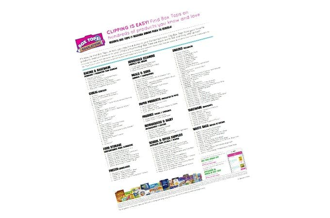 Checklist of Box Tops For Education products
