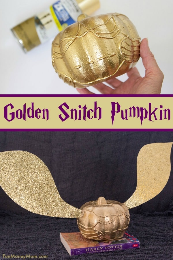 Harry Potter Pumpkin - This Golden Snitch Pumpkin was totally inspired by our love for Harry Potter! If you love pumpkin decorating, you're going to have a blast making this fun Halloween craft! #Halloween #halloweencraft #harrypotter #goldensnitch #harrypottercraft #halloweenfun #halloweendecor #pumpkin #pumpkindecorating #halloweenpumpkin