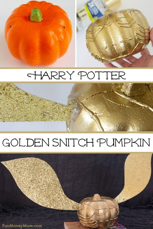 Golden Snitch Pumpkin - This Harry Potter Pumpkin was totally inspired by our love for Harry Potter books and movies! If you love pumpkin decorating, you're going to have a blast making this awesome Halloween craft! #Halloween #goldensnitch #harrypottercraft #halloweenfun #halloweendecor #pumpkin #pumpkindecorating #halloweenpumpkin #halloweencraft #harrypotter