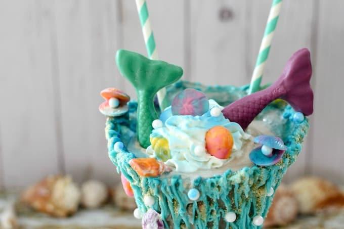 Mermaid milkshake with Reddi-wip and shells