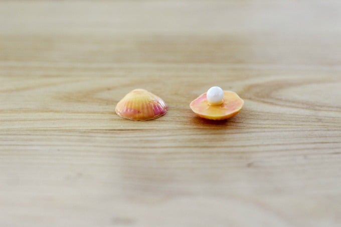 Candy pearl attached to seashell