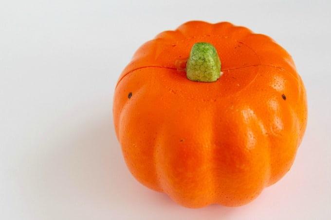 Orange styrofoam pumpkin