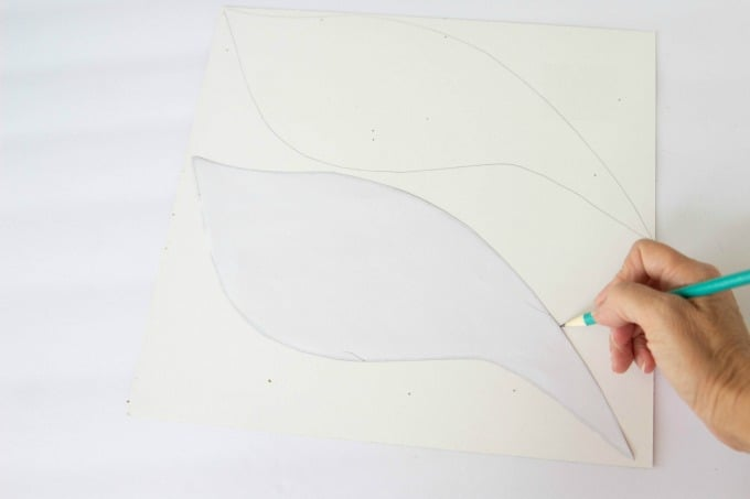 Tracing a wing for the Golden Snitch pumpkin