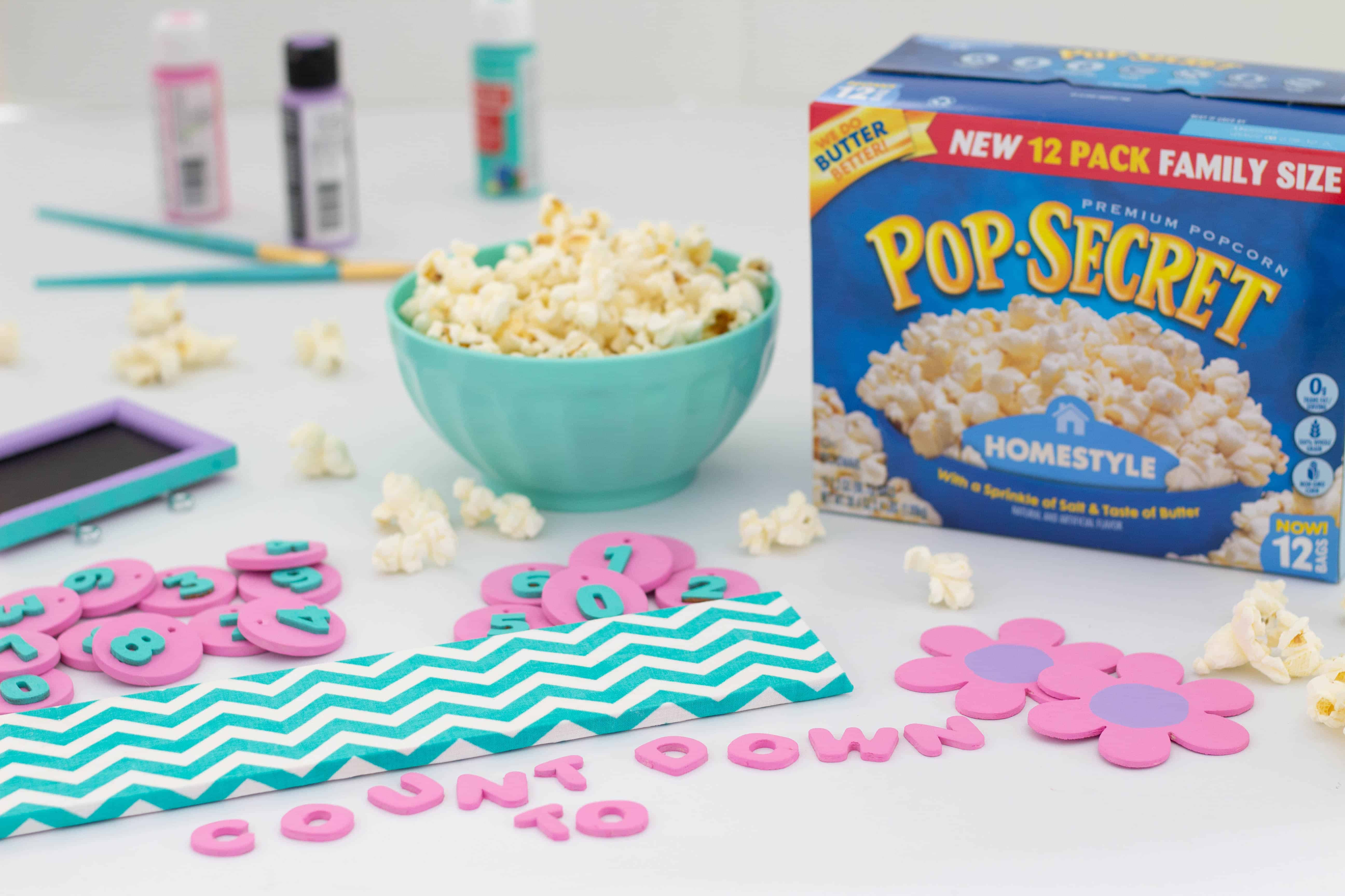 Snacking on popcorn while crafting