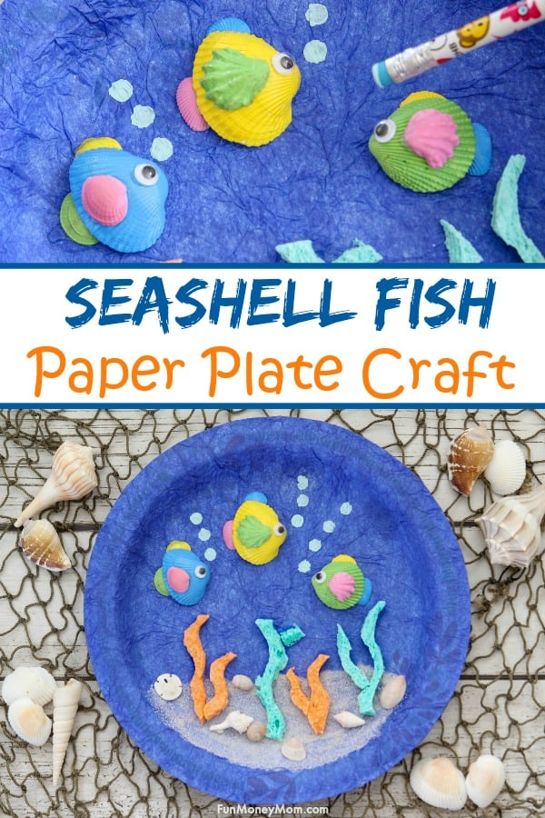 Paper Plate Craft - Your kids are going to love making this paper plate ocean craft. The best part is that it's a seashell craft too so you have something fun to do with all the seashells you collected at the beach. It's a fun kids craft that's fun for kids of all ages! Plus, find out where you can get a great deal on the supplies you'll need @DollarGeneral @DixieProducts @SparkleTowels #ad #BackToSchoolwithGP  #paperplatecraft #craft #seashell #seashellcraft #oceancraft #kidscraft